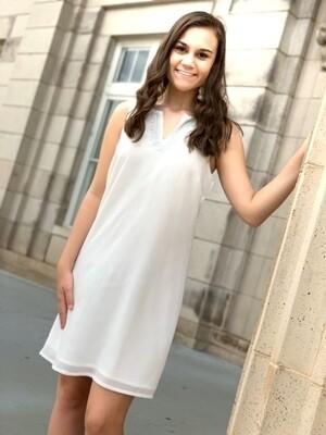 Dress White Silver Embellish