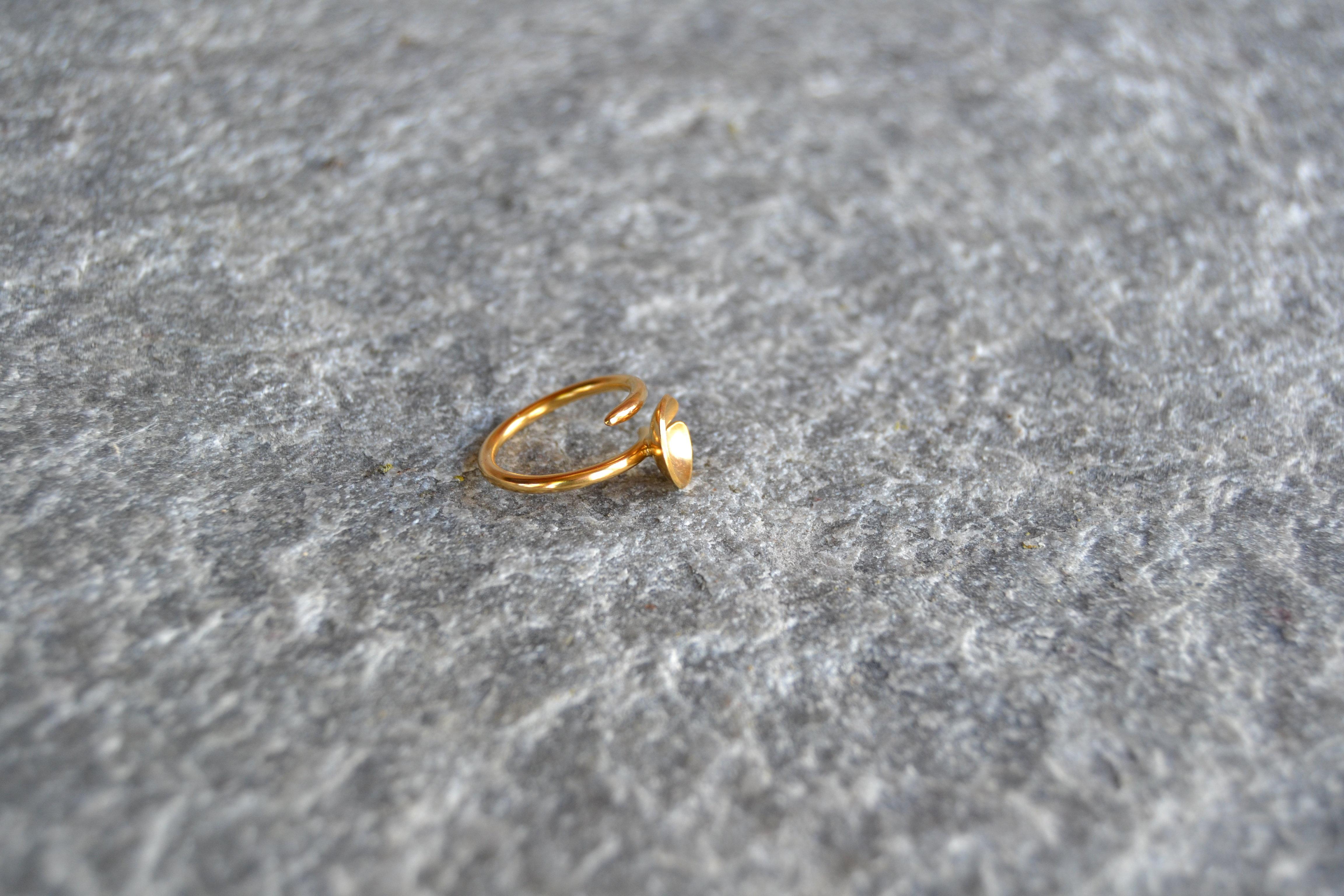 Nøkken forgylt ring i 925 sølv