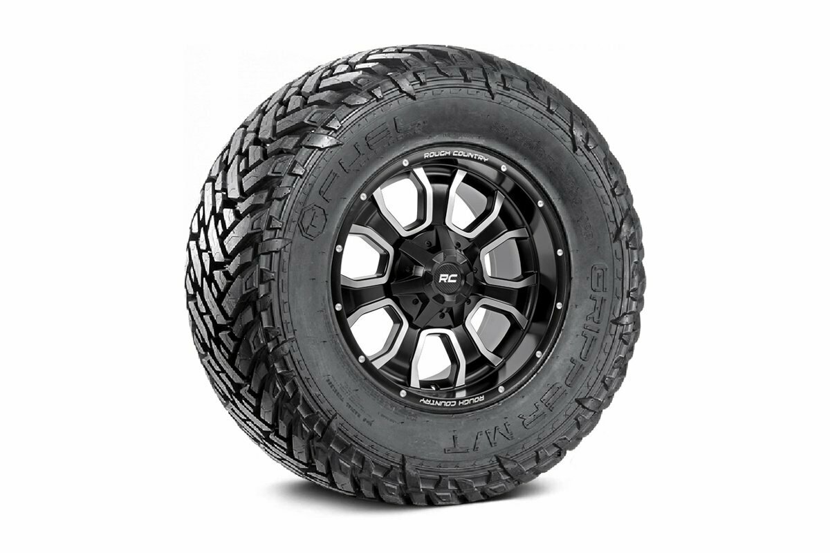 Fuel Gripper 35x12.50 M/T w/ Rough Country Series 93 20x9 Combo (6x5.5 / 6x135)
