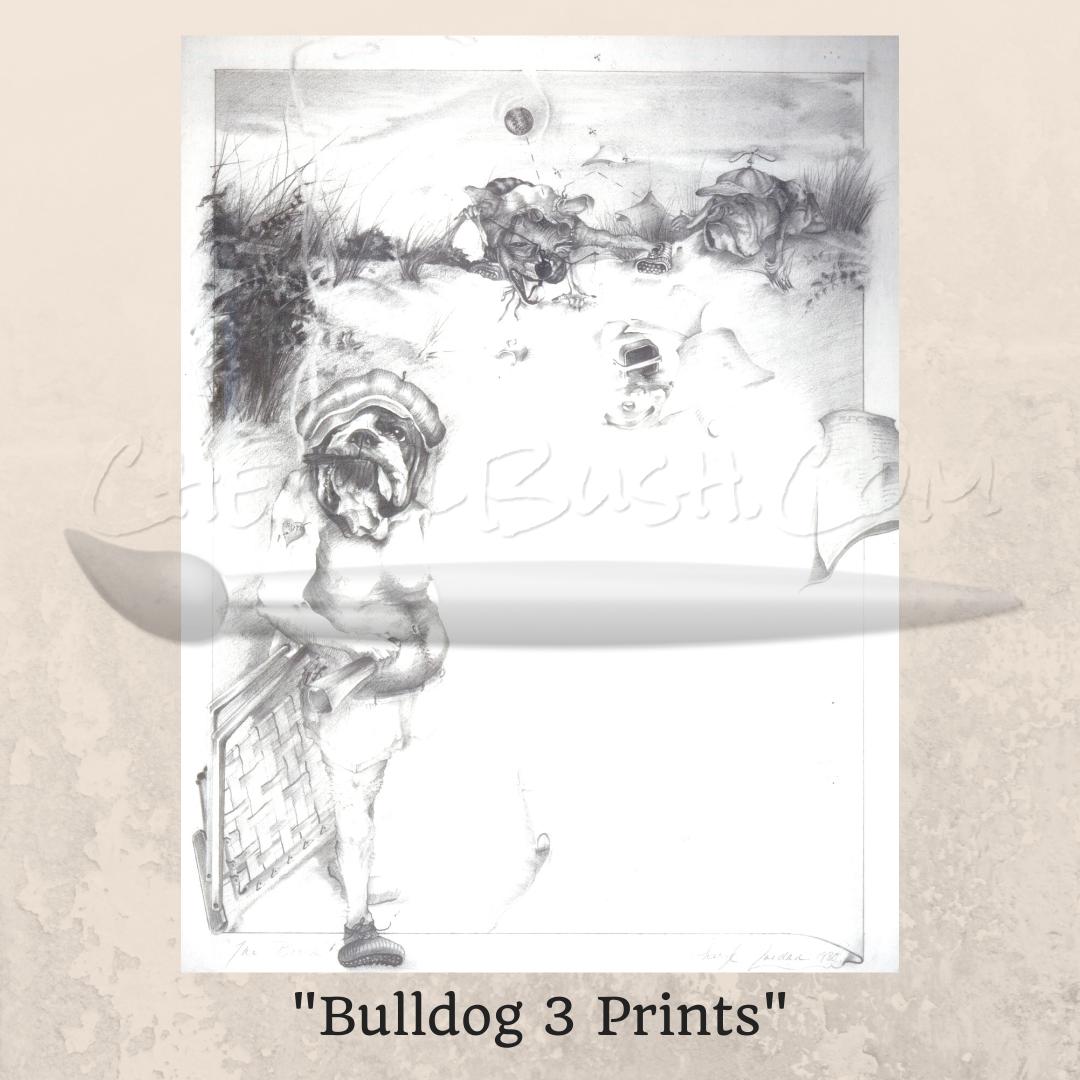 Bulldog At The Beach Prints - Pencil Drawing