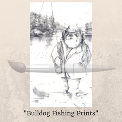 Bulldog Fishing Prints