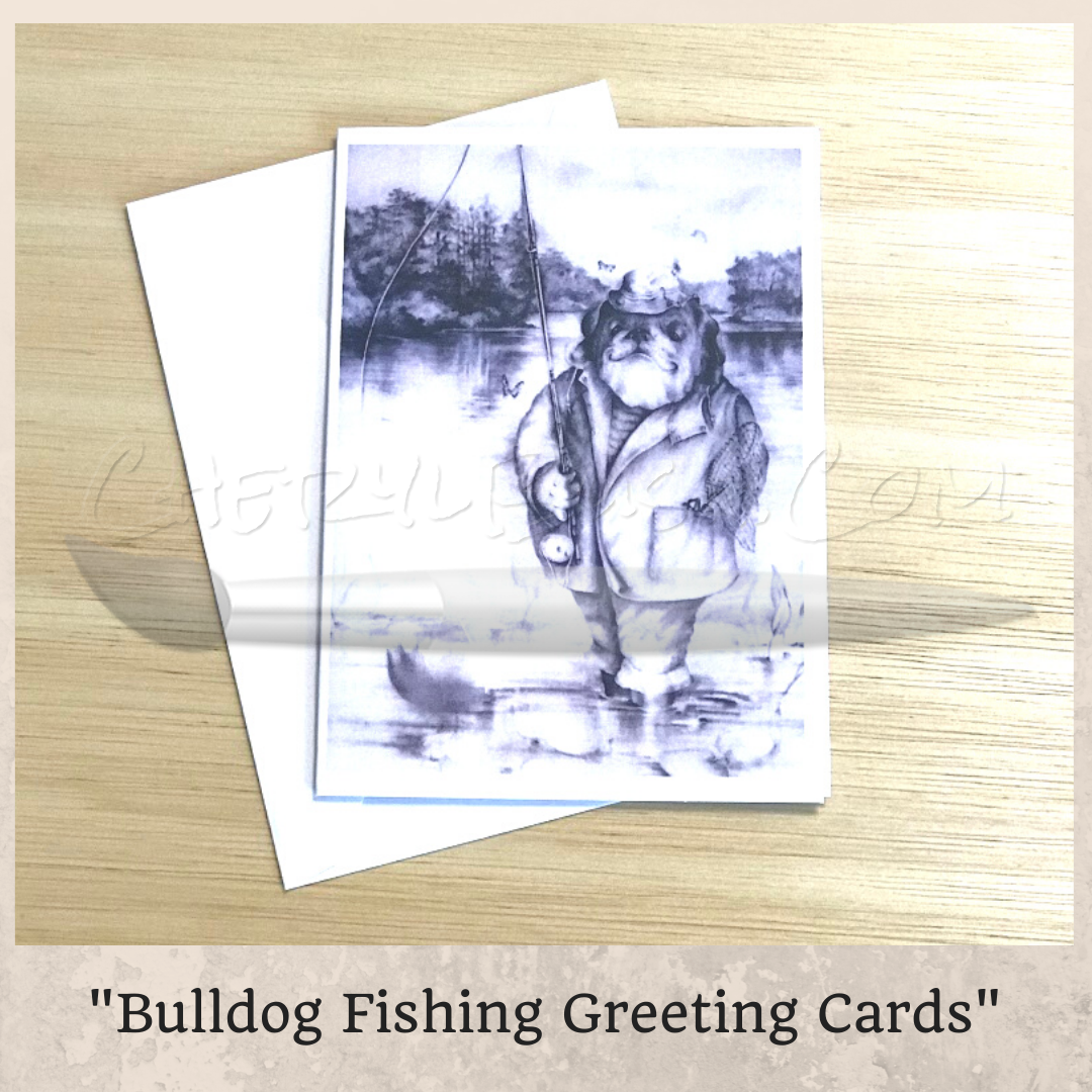Bulldog Fishing Greeting Card 5 Pack