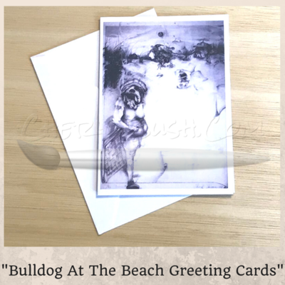 Bulldog At The Beach Greeting Card 5 Pack