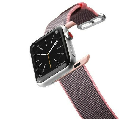 Bracelet Apple Watch en Nylon Tissu 44/42mm Rose de Casetify