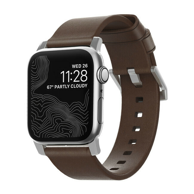 Bracelet en Cuir Modern Brun Rustique pour Apple Watch 44/42mm de Nomad