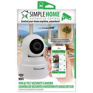 Caméra de surveillance Wi-Fi panoramique et à inclinaison, jour et nuit sans fil d'intérieur XCS7-1002-WHT de SimpleHome