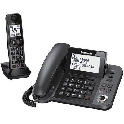 Système téléphonique à fil/sans fil Panasonic KXTGF350M à 1 combiné et répondeur - noir métallique