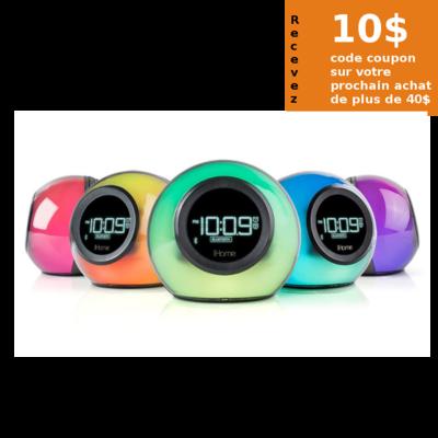 Radio-réveil Bluetooth iBT29 Couleurs variables de iHome