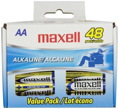 Batteries alcaline format AA de Maxell paquet de 48