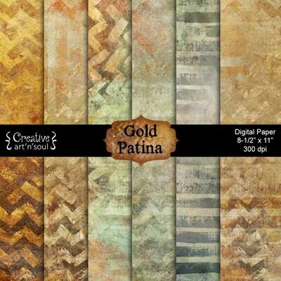 Gold Patina Printable Paper Pack PP1202