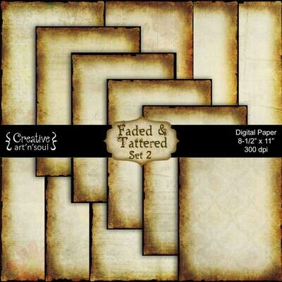 Faded and Tattered Printable Paper Pack Set 2 PP1210