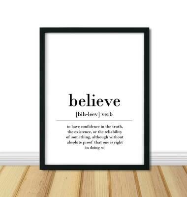 Printable Definition Wall Art: Believe