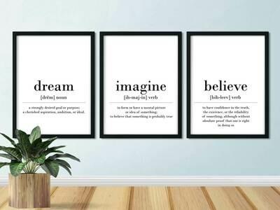 Printable Wall Art, Definition - Dream Imagine Believe