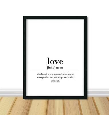 Printable Wall Art, Definition - Love