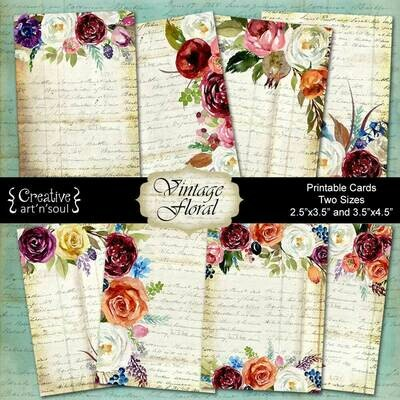 Vintage Floral Printable Cards - Two Sizes