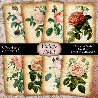 Vintage Rose Printable Cards - Two Sizes