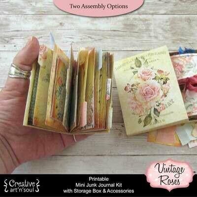 Vintage Roses Printable Mini Junk Journal