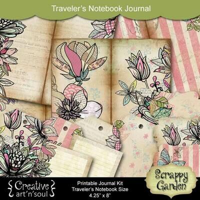Scrappy Garden Traveler's Notebook Printable Journal