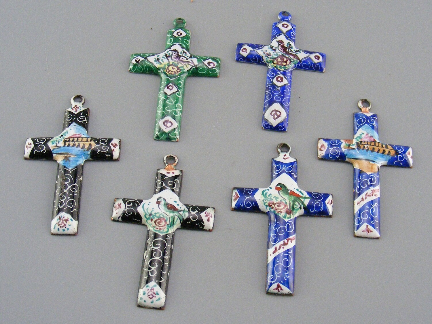 Persian Enamel Cross Pendants