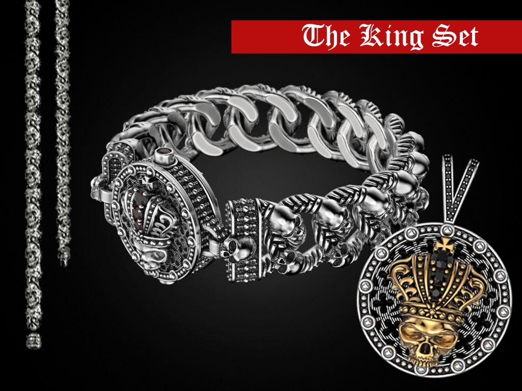 The King Sterling Silver Skulls Set