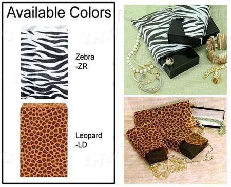"""Paper Gift Bags, 8 1/2""""x11"""", Leopard or Zebra Design, Priced per 100 Pk"""
