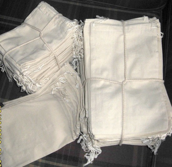 """3""""x5"""" Cotton Bags with Drawstring, 100 Pack"""