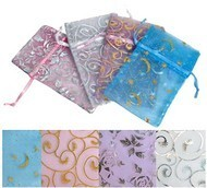 """Organza Bags, 4""""x5"""", with Pastel Design, 12 Pack Asst."""