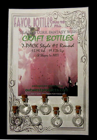 Wish Glass Bottles with Cork, Round Shape, 7 Bottles on a card, Sold Per Card