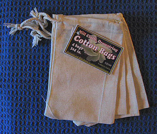 "3""x4"" Cotton Bags with drawstring, 4 Pack, Priced Per Pack"