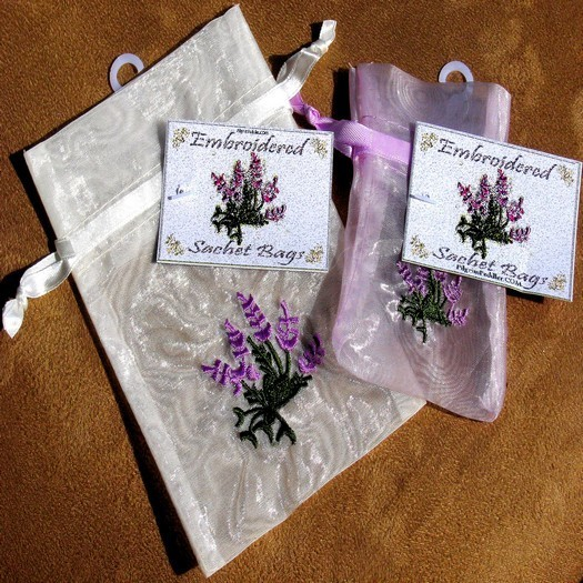 """Embroidered Organza Bags with Lavender Design, 4""""x 6"""", 6 Pack"""