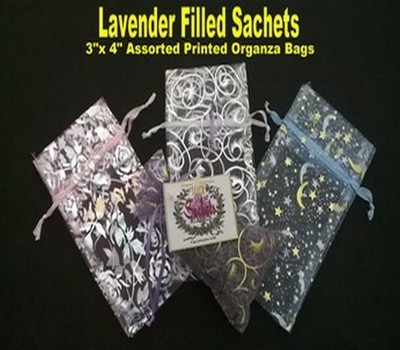 """Lavender Sachets in Organza Bags with Pastel Designs, 3""""x 4"""", 6 Pack Asst., ($1.50 Ea)"""