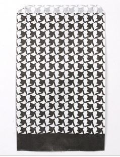 """Paper Gift Bags, 6""""x9"""" Houndstooth Design, 100 Pk"""