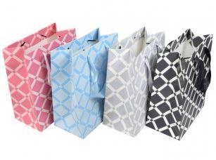 """Merchandise Bags, Square Pattern Totes, 7""""W x 4""""D x 9""""H, 12 Pk Asst Colors"""