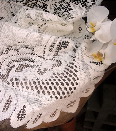 """Ivory Lace Table Runner with Floral Design, 13""""x 120"""", Priced Each"""