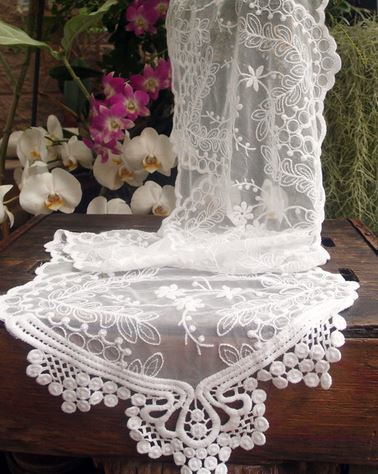 """White Lace Table Runner, 12""""x 74"""", Priced Each"""