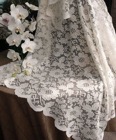 "Ivory Lace Table Cover with floral design, 54""x 54"" Square, Priced Each"