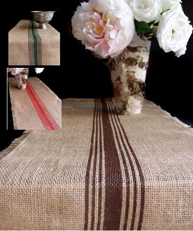 """Striped Jute Table Runner with Fringed Edge, 12 1/2""""x 108"""", Priced Each"""
