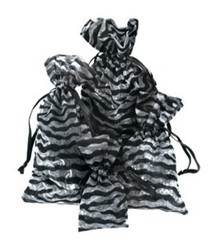 "2 3/4""x  3"" Sheer Novelty Bags with  Zebra Design, 12 Pk"