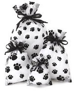 """3""""x  4"""" Sheer Novelty Bags with  Paw Print Design, 6 Pk"""