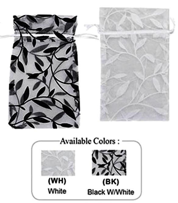 """1 3/4""""x 2"""" Organza Bag with Leaf Design, 12 Pk"""