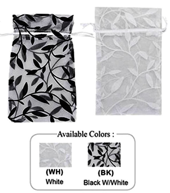 "3""x  4"" Organza Bag with Leaf Design, 12 Pk"