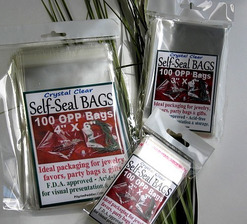 """1 1/2""""x 2"""" OPP Bags with Self-Adhesive Seal, 100 Pk Retail Packaged"""