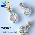 Wish Bottles, #1 Round, Glass with cork, 24 Pack