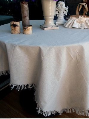 Linen Round Table Cover with Fringed Edge, 60