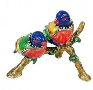 "Trinket Jewelry Box, Two Parrots, 4""W x 3 1/4""D x 2 7/8""H"