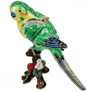 "Trinket Jewelry Box, Parrot, 3""W x 1 1/2""D x 3 1/2""H"