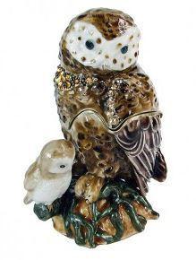 """Trinket Jewelry Box, Owl Mommy & Me 2 1/4""""W x 1 1/2""""D x 3 1/4""""H"""
