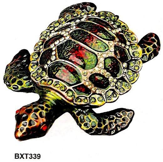 Trinket Jewelry Boxes, Turtle, 4 1/2''W x 3 1/2''D x 1''H