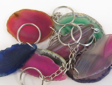 Small Agate Slices with Key Chain, 12 Pk