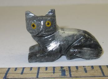 "Miniature Soapstone Carving, Cat, 1 1/2"" Tall, Priced Ea"